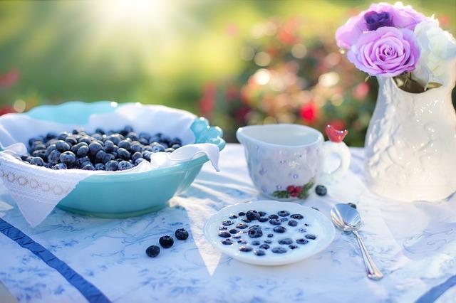 borůvky v jogurtu